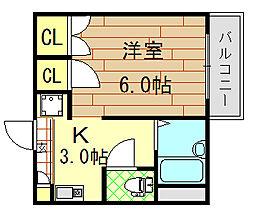 ガリューコート菱屋西[303号室]の間取り