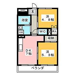 愛知県名古屋市中村区長筬町2丁目の賃貸マンションの間取り