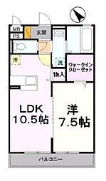 神奈川県横浜市港北区高田西1丁目の賃貸アパートの間取り