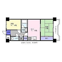 北條第二マンションアビコ[2階]の間取り