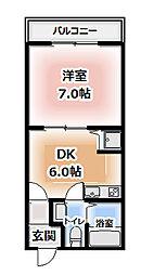 アクロス大日アパートメント 1階1DKの間取り