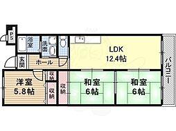 メゾンドール1 3階3LDKの間取り