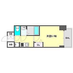ララプレイス大阪新町ヴェレ 10階1Kの間取り