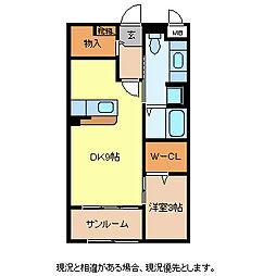 長野県長野市松岡1丁目の賃貸アパートの間取り