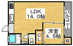 阪和ハイツ[405号室]の間取り