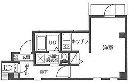 東京メトロ銀座線 浅草駅 徒歩15分の賃貸マンション 6階ワンルームの間取り