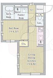 JR山手線 目白駅 徒歩5分の賃貸マンション 2階1LDKの間取り