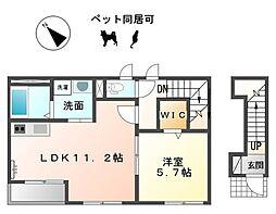 愛知県一宮市丹陽町外崎字江東の賃貸アパートの間取り