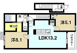 ラ・レコルトA 2階2LDKの間取り