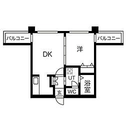 グレイスコート円山北 4階1DKの間取り