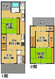 [一戸建] 大阪府大阪市大正区平尾5丁目 の賃貸【/】の間取り