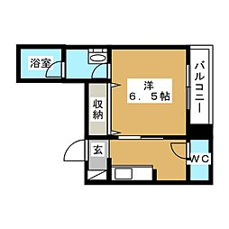 N-MyLife Sinozaki 2階1Kの間取り