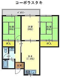 コーポラスタキ[3階]の間取り