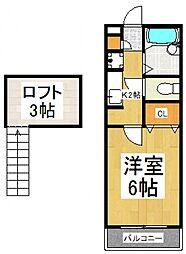 グローリーハイツI[2階]の間取り