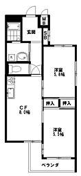 東京都中野区上高田3丁目の賃貸マンションの間取り