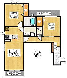 仮称堺市堺区シャーメゾン南丸保園[2階]の間取り