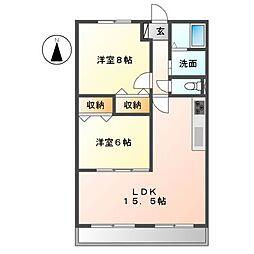 ハートフルマンションKAWABE 1階2LDKの間取り