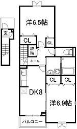 ヴィラアルカンシエル[2階]の間取り