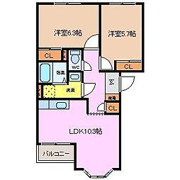 三重県四日市市広永町の賃貸アパートの間取り