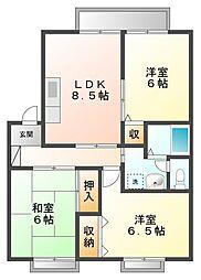 甲子園クレセントハウス[1階]の間取り