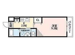 ハピーハウス 2階1Kの間取り