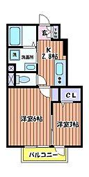 東京都立川市上砂町1丁目の賃貸アパートの間取り