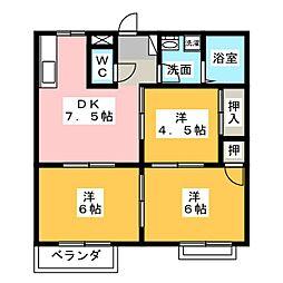ハイツクラウンA・B[2階]の間取り