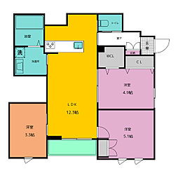 仮称)中央区平尾3丁目ヘーベルメゾン西棟 2階3LDKの間取り