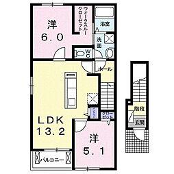 BEST HOUSE II A[0201号室]の間取り
