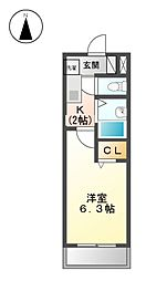 ピュア寿々木[4階]の間取り