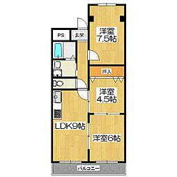 シャンポール山科[2階]の間取り
