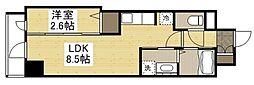 岡山電気軌道清輝橋線 東中央町駅 徒歩6分の賃貸マンション 1階1LDKの間取り
