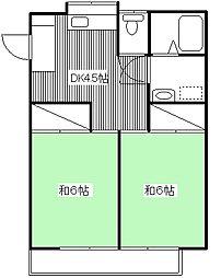 ハイツサンアベニュー[205号室]の間取り