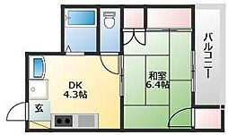 ABEビル 6階1DKの間取り