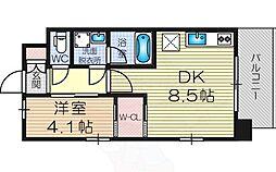 Osaka Metro御堂筋線 東三国駅 徒歩7分の賃貸マンション 8階ワンルームの間取り
