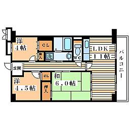 アソシアード御幣島[4階]の間取り