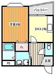 ルミナール加賀屋[302号室]の間取り
