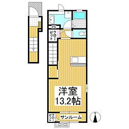 しなの鉄道 上田駅 徒歩28分の賃貸アパート 2階1Kの間取り