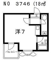 ピースフルハイツ[5階]の間取り