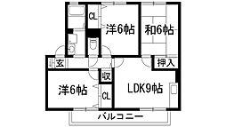 ソレーユ萩原B棟[2階]の間取り