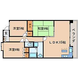 静岡県静岡市駿河区登呂6丁目の賃貸マンションの間取り