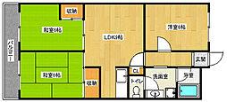 京都府京都市下京区西七条掛越町の賃貸マンションの間取り