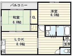大阪府大阪市生野区小路東6丁目の賃貸マンションの間取り