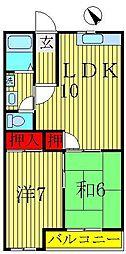 サンハイツ北柏B棟[1階]の間取り