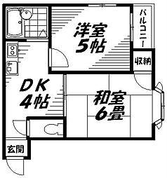 京阪本線 西三荘駅 徒歩12分の賃貸マンション 4階2DKの間取り
