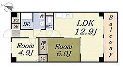 福本ハーバービュースクエア[6階]の間取り