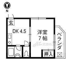 阪急京都本線 長岡天神駅 徒歩14分の賃貸マンション 1階1DKの間取り