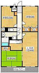 シャトレ弐番館[3階]の間取り