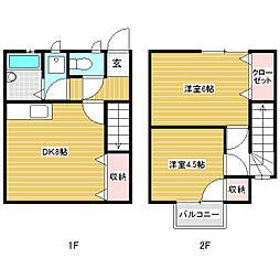 古旗アパート A棟[2階]の間取り