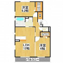 大阪府堺市美原区北余部の賃貸アパートの間取り